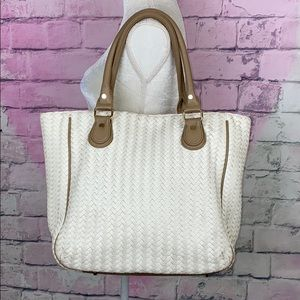 Deux Lux cream leather woven snap button tote bag